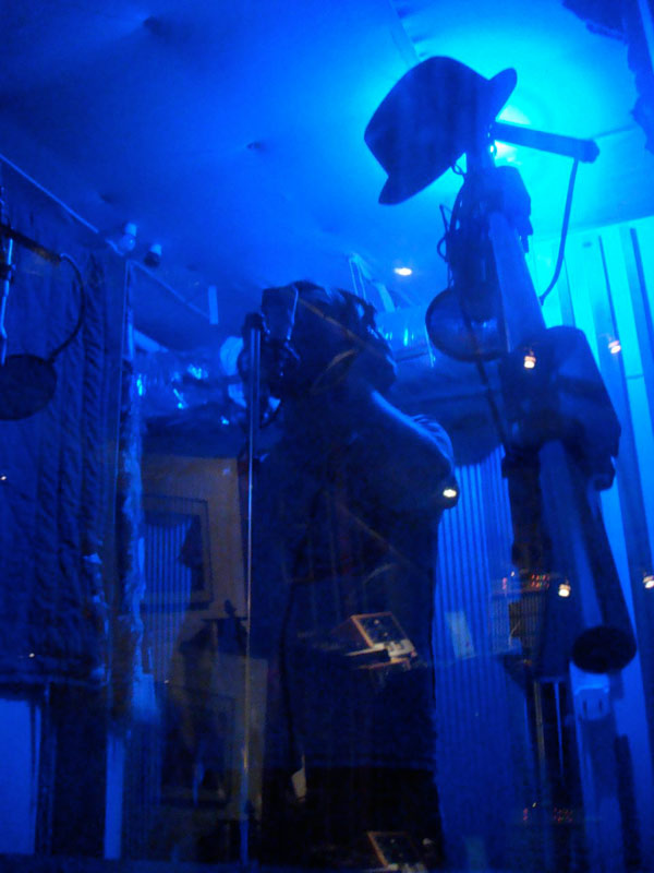 Vocal booth in a blue light