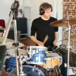 Ferran Esquerdo on a drum set at Metrosonic's large live room