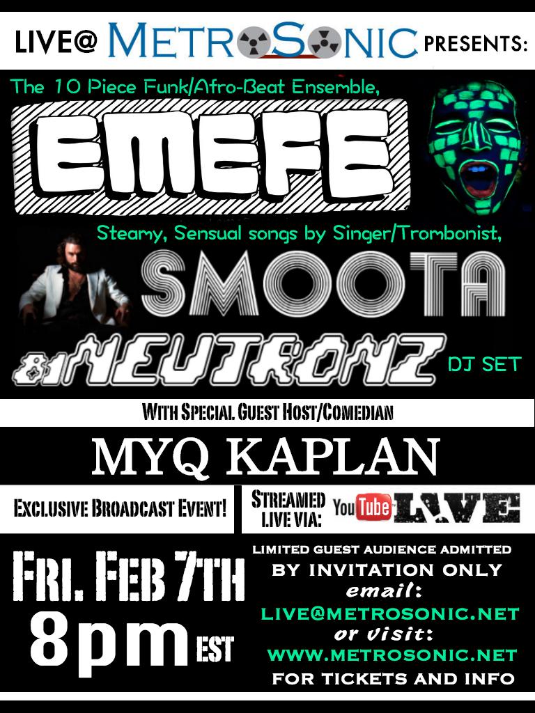 Flyer for Feb 7th live@metrosonic