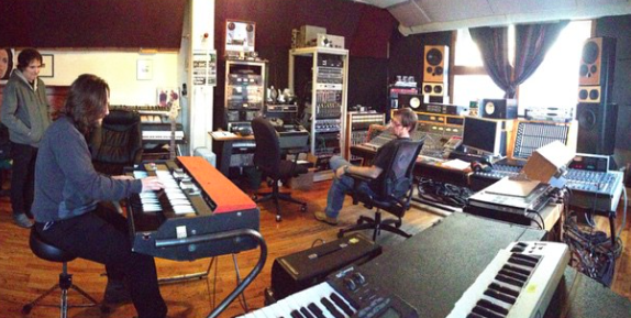 Viktor and Rob In MetroSonic's Control Room with Chief Engineer Pete Mignola
